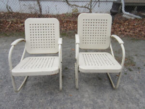 ANTIQUE (c1940) Pair of Metal Chairs - Basket Weave Pattern
