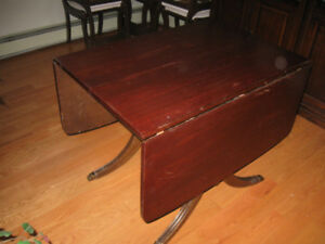 VERY OLD ANTIQUE DROP LEAF WOODEN TABLE w Tiger Claws ft.
