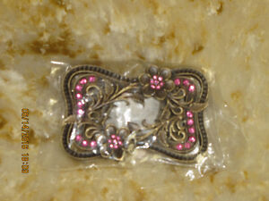 Belt Buckle - Pink Rinestones