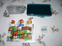 Teal 3DS with 2GB card, Super Mario land, Mariokart7