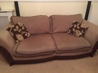 3 Seater sofa leather and cord.