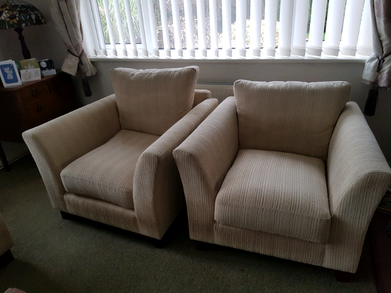Marks & Spencer cream/beige sofa and 2 armchairs cream ...