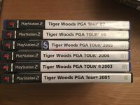 REDUCED * PS2 Tiger woods PGA 1, 3, 4,5, 6 & 7