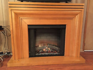 Electric Fireplace with Large Mantle- Moving and Must Sell