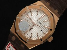 Audemars Piguet 37mm Rose Gold, Brown Leather Strap, White Dial BEST quality