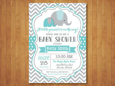 Elephant Baby Shower Invitation. Boy. Blue and Gray Chevron. Printable Digital.](Pink And Grey Baby Shower Invitations)