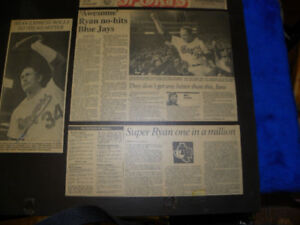 Nolan Ryan's Last No-Hitter vs. Blue Jays Laminated News Story
