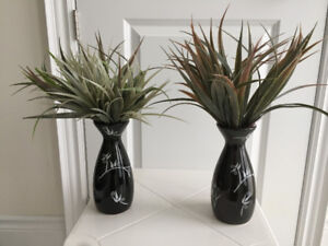 "14"" tall Artificial green plants with ceramic vase, $7 each"