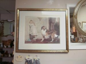Vintage Collie & Child Framed Print at Carson's Flea Market