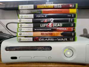 Xbox 360. 2 controllers and 9 games