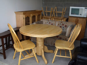 Table, Hutch and Four Chairs