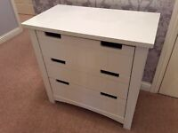 Kids bedroom furniture - chest of drawers, bedside table, bookcase - White