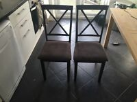 2x Wooden dining table chairs