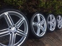 "4x Audi RS6 20"" Alloy Wheels and Pirelli Tyres A5 A6 A7 A8 VW"