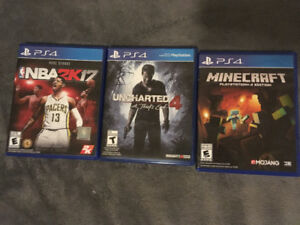 PS4 Games for sale  - NBA 2K17 - Uncharted 4 - Minecraft