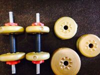 Dumbell et barbell d'excercice / workout dumbell and barbell