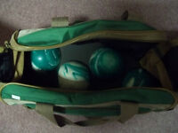 Bowling balls and bag