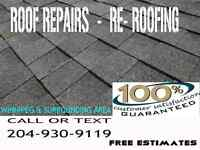 RE-ROOFING - ROOF REPAIRS - ROOFTOP SNOW REMOVAL SERVICE