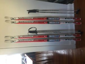Rossignol Junior xcountry skis and Kopperdell Poles - 2 sets