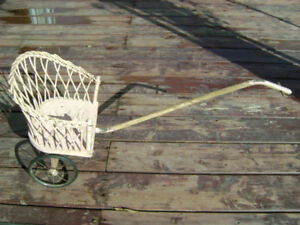 Rare Antique Victorian Style Wicker Doll Pull Along Cart