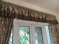 3 sets of thick lined curtains with pelmets