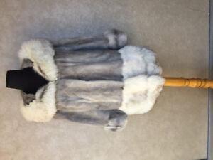 Vintage Silver Mink with Blue Fox Trim Coat. Fits medium