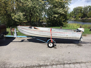 14' aluminum boat and tee-nee trailer with 1976 - 15 hp evinrude Kawartha Lakes Peterborough Area image 1