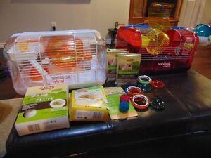 2 Joining Habitrail Hamster Cages, Extension Loft & Accessories