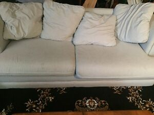 White with Blue Striped 3 Person Pullout Sofa