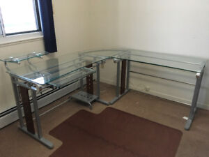 "Home Office Glass ""L"" shape Desk, Shelf Unit, and leather chair"
