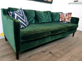 Made com Dallas 3 seater sofa in green velvet RRP £899
