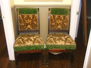 TWO ANTIQUE PARLOR CHAIRS IN ORIGINAL CONDITION
