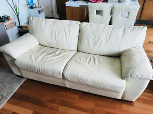 Genuine beige leather convertible couch sofa bed premium quality
