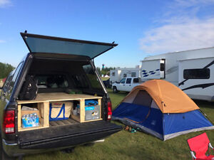 Custom-built wooden truck bed frame: fits a Dodge Ram short box