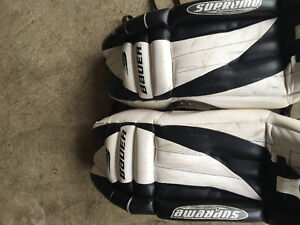 Goalie pads, skates and blocker/trapper