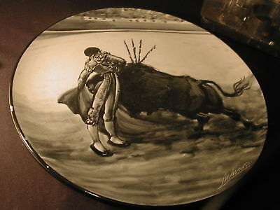 Matador round painting Stoneware 14inch plate L. M. Marco Black gray cream