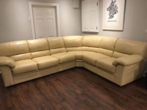 Natuzzi Editions All Leather Sectional Couch, Paid Over $7300