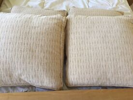 Four large square cushions with cream covers - excellent condition