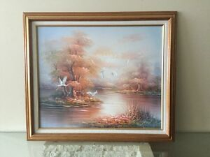 WHITE CRANE ISLAND OIL PAINTING London Ontario image 1