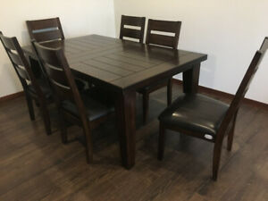 Brand New Dining Table With Six Chairs Leather Seats