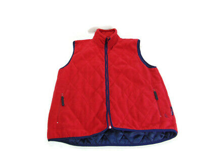 Nautica Men's Size L Red Full Zip Pocketed Polyester Lined Quilted Fleece Vest