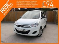 2013 Hyundai i10 1.2 Classic 5 Door 5 Speed Air Conditioning Demo Plus 1 Lady Ow