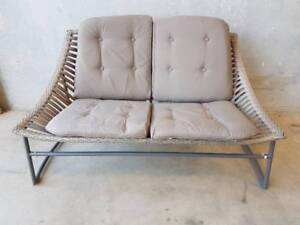 Coolum 2 Seater with Woven Rattan and Mocha Cushions Loganholme Logan Area Preview