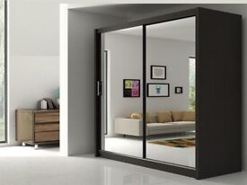 PICK ANY COLOUR OR SIZE NOW-Brand New Berlin Full Mirror 2 door Sliding Wardrobe with shelves + rail