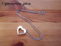 """ROMANTIC Solid STERLING Silver Necklace Cutout HEART Pendant 22"""""""