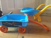 Toy wheelbarrow & Cart