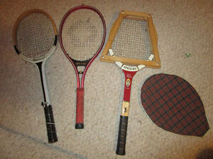 3 Vintage tennis rackets with 1 Wooden racquet press