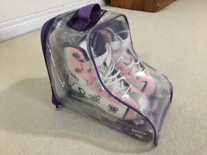 Reebok Glitter Girl Ice Skates size 4 & Pink Helmet with mesh