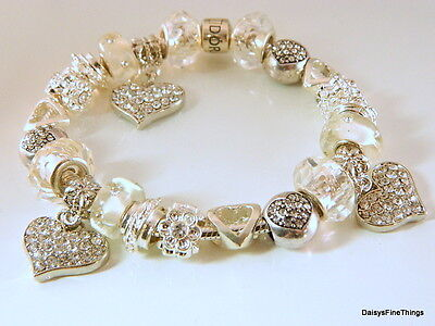 Authentic Pandora  Bracelet W  Charms Hearts Love   Hinged Box