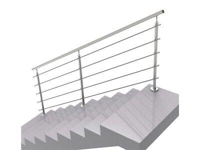 Handlauf Treppengeländer Brüstung Treppe Bausatz Edelstahl Bodenmontage 3m*100cm